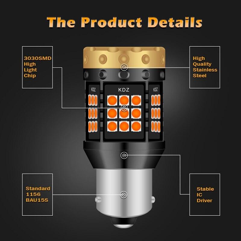Image 3 - 2pcs NO Hyper Flash 1156 BA15S P21W BAU15S PY21W T20 7440 Led Bulb Turn Signal Light Lamps Amber Orange Canbus Error Free LedsSignal Lamp   -