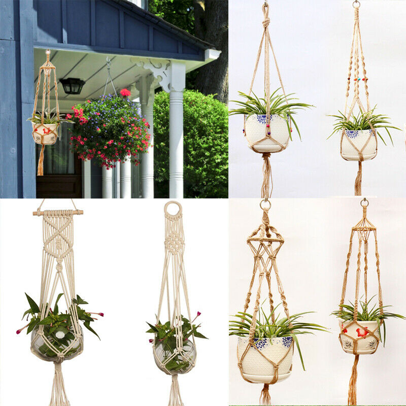 Image 2 - Straw Macrame Plant Hanger Flower Pot Garden Holder Legs Hanging Rope Basket Household Garden Decoration Dropshipping-in Hanging Baskets from Home & Garden