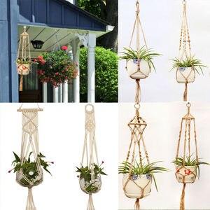 Image 2 - Straw Macrame Plant Hanger Flower Pot Garden Holder Legs Hanging Rope Basket Household Garden Decoration Dropshipping