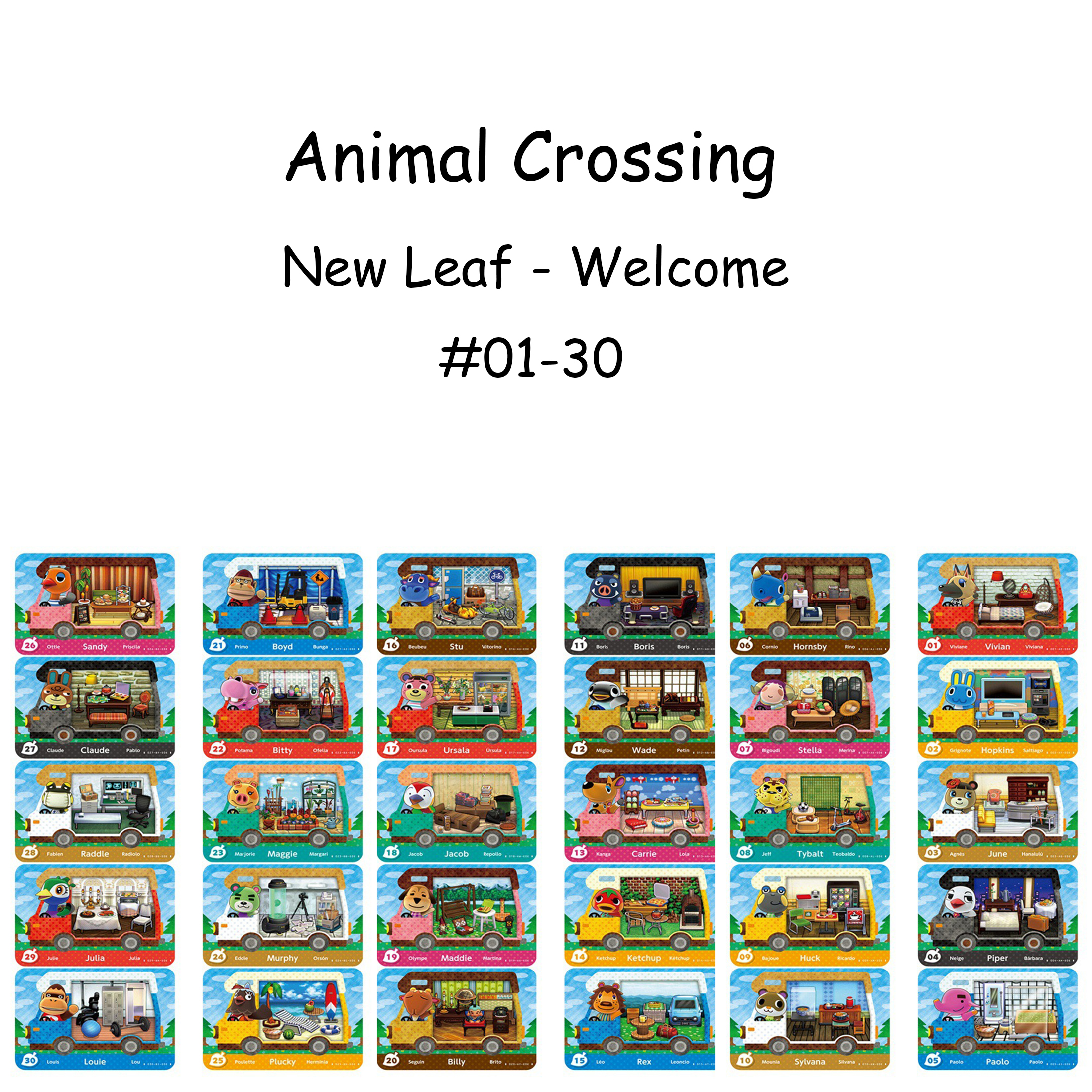 CV Car Animal Crossing <font><b>Card</b></font> New Leaf Welcome <font><b>Amiibo</b></font> Ketchup Car <font><b>Card</b></font> <font><b>NFC</b></font> For <font><b>Switch</b></font> NS Animal Crossing <font><b>Amiibo</b></font> Car <font><b>Card</b></font> (01-30) image