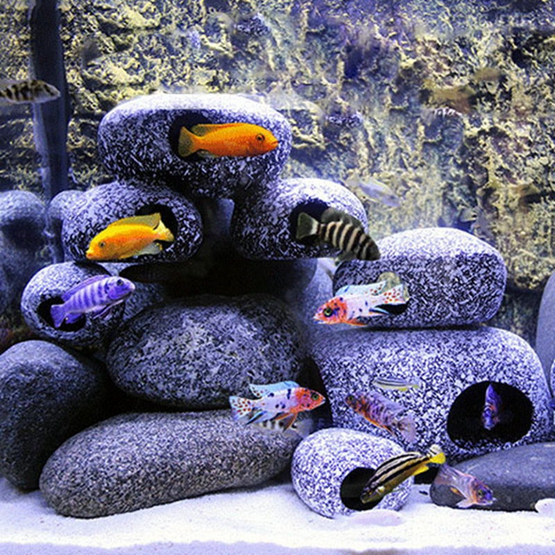 Fish And Shrimp House Breeding Tank Cichlids Exclusive Stone Dwarf Cichlids Refuge House Fish Tank Landscaping Decoration