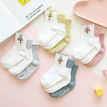 3 Pcs of Baby Socks 0-1-3 Year Plastic Non-slip Button Decoration Three-color Suit Childrens Newborn Girl Stuff