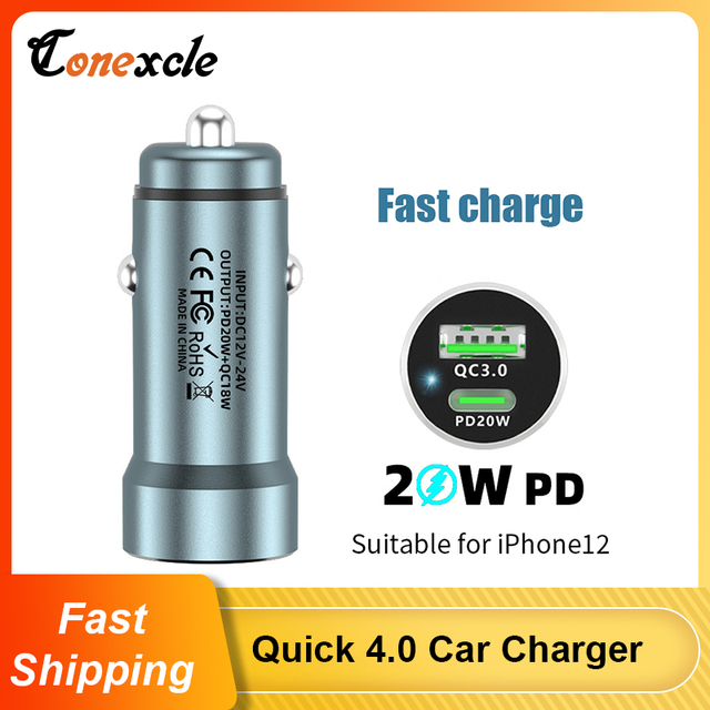 PD USB C Car Charger Quick Charge 4.0 3.0 38W Fast Charging For iPhone 12 11 XS X XR 8 7 Xiaomi QC4.0 QC3.0 Type C Phone Charger