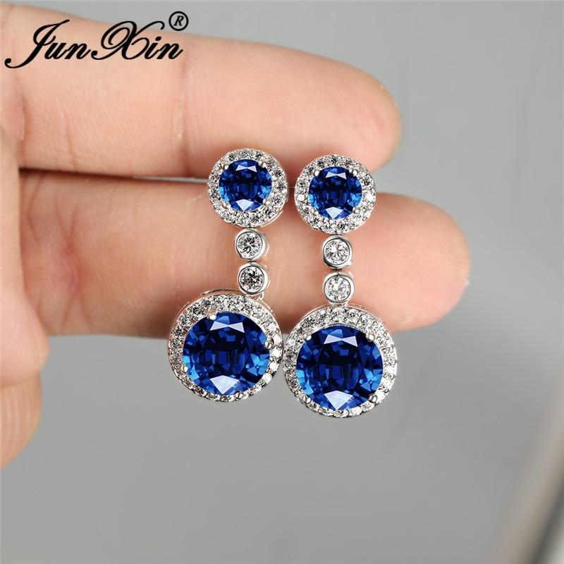 Luxury Crystal Round Drop Earrings For Women White Gold Colorful Blue Green Purple Red Zircon Dangle Earring Wedding Jewelry Cz
