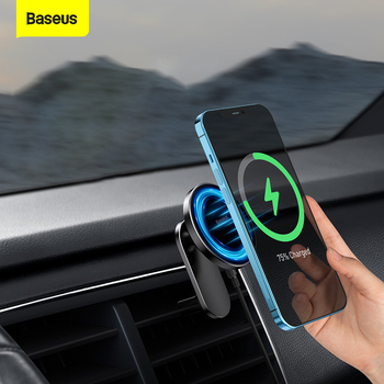 Baseus Magnetic Wireless Car Charger for iPhone 12 Series Phone Holder Quick Charger Air Vent Mount Stand Wireless Charging 1