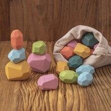 Baby Spielzeug Holz Jenga Gebäude Block Farbige Stein Kreative Pädagogisches Spielzeug Nordic Stil Stapeln Spiel Regenbogen Stein Holz Spielzeug