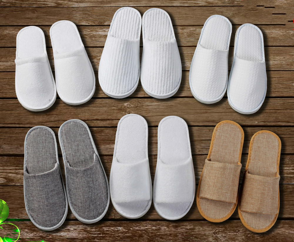 10 Pair/Lot Hotel Star Hotel Disposable Slipper Non-slip Ventilation Eva Travel Hotel Indoor Guest Slippers White Shoes