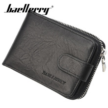 Baellerry Wallet Men Business Solid Short PU Leather Zipper Hasp Porta Clip Handbag Card Holder Photo