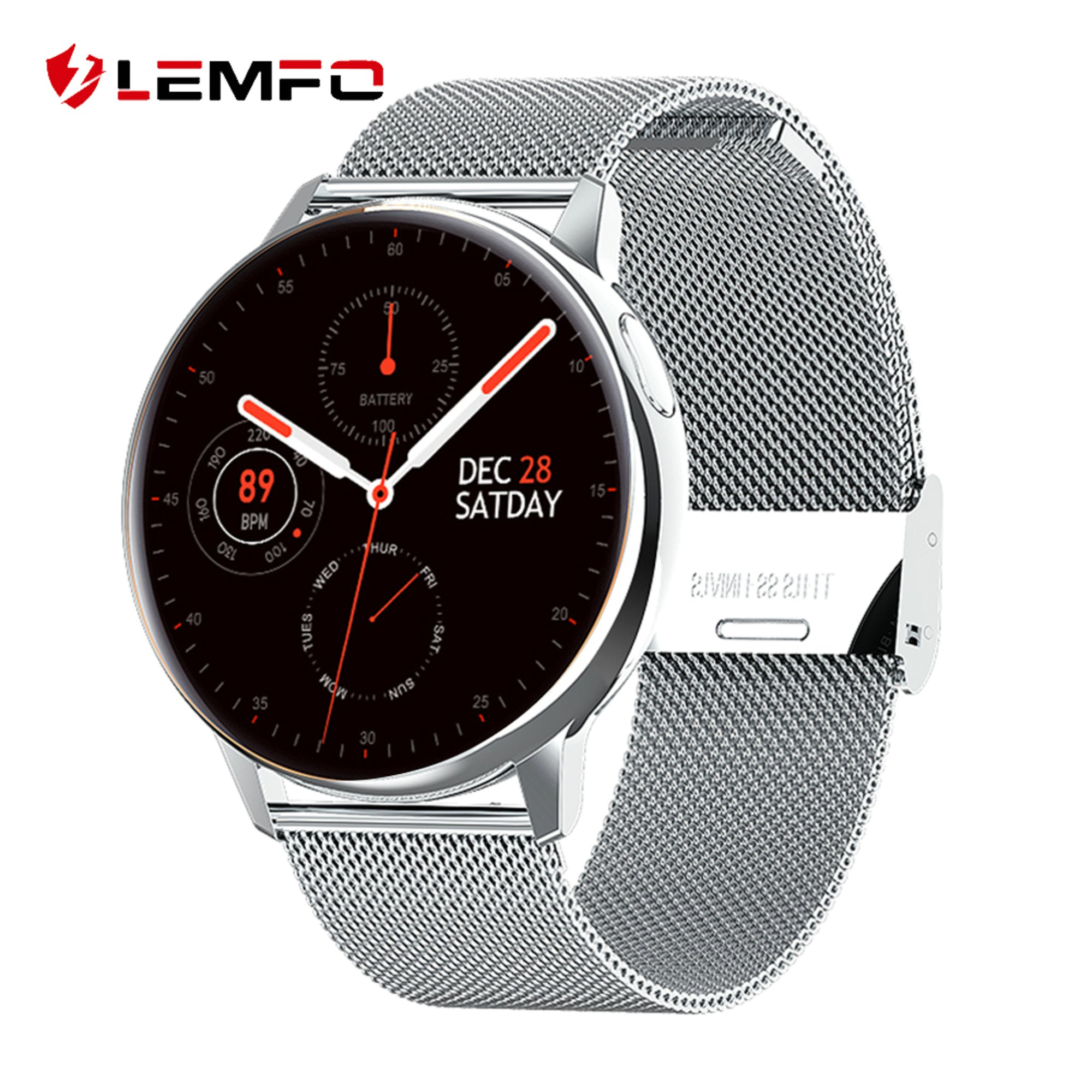 LEMFO Full Round Screen Women Smart Watch Men Body Temperature ECG Smartwatch 2020 Weather for Android IOS Samsung Phone