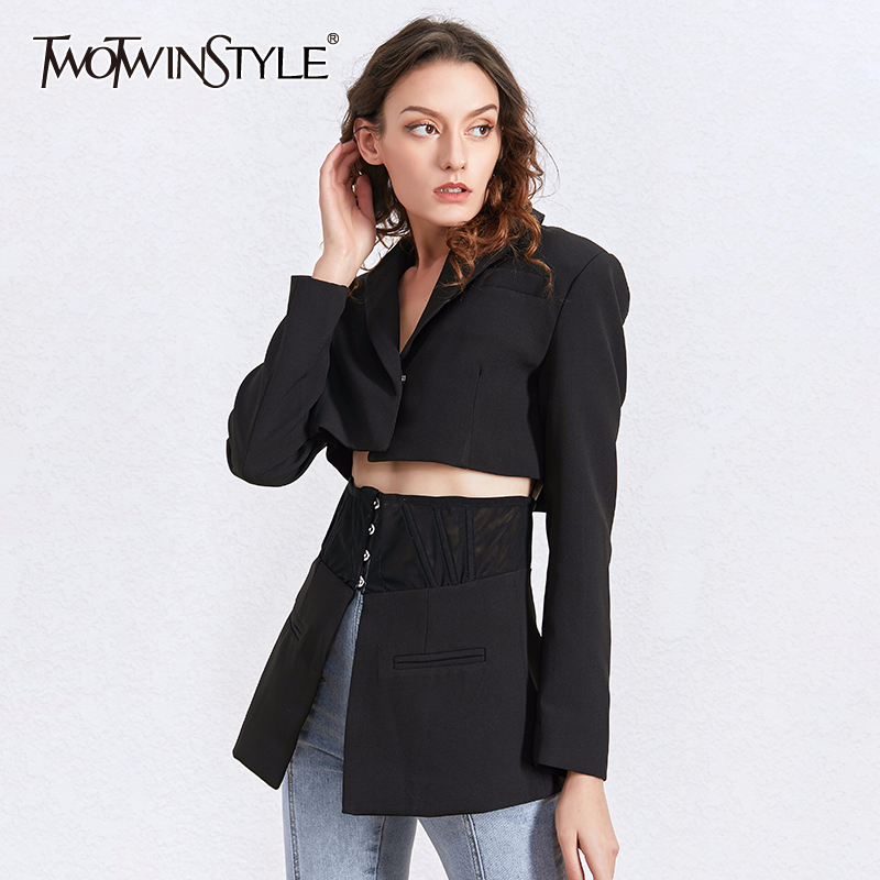 TWOTWINSTYLE Tunic Patchwork Black Blazer Tops Female Long Sleeve Slim White Blazers Coat Women Fashion Clothing 2020 Spring New