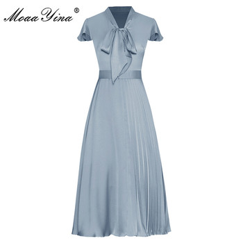 MoaaYina Fashion Runway dress Summer Women's Dress Bow collar Short sleeve Solid color Pleated Elegant Dresses цена 2017