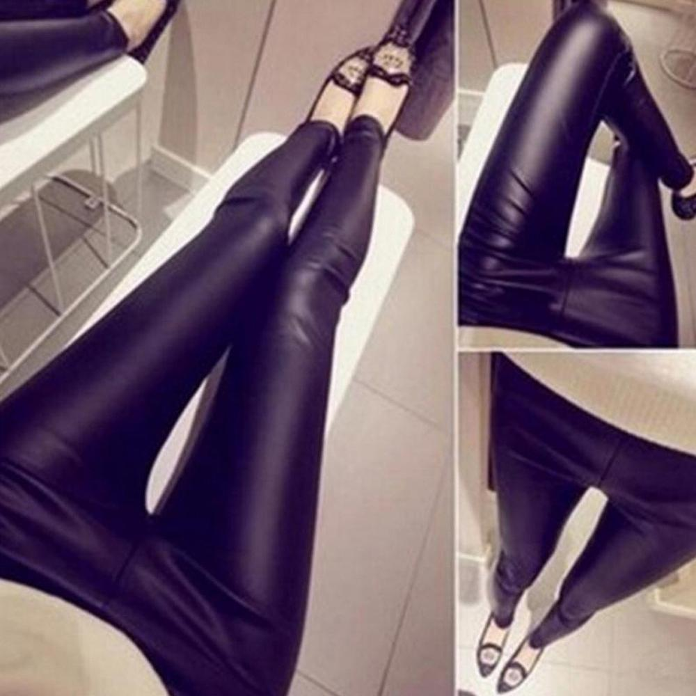 Autumn 2019 Fashion <font><b>Leather</b></font> <font><b>Sexy</b></font> Thin Black Casual Jeans Skinny Leggings Calzas Mujer Stretchy Pencil Jeggings Plus Size <font><b>4XL</b></font>#D image