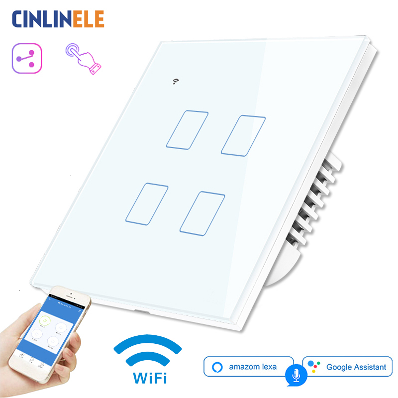 WIFI Touch Light Wall <font><b>Switch</b></font> White Glass Panel Blue LED EU & UK Universal Smart Home Phone Control <font><b>4</b></font> <font><b>Gang</b></font> 2 Way 90-240V Square image