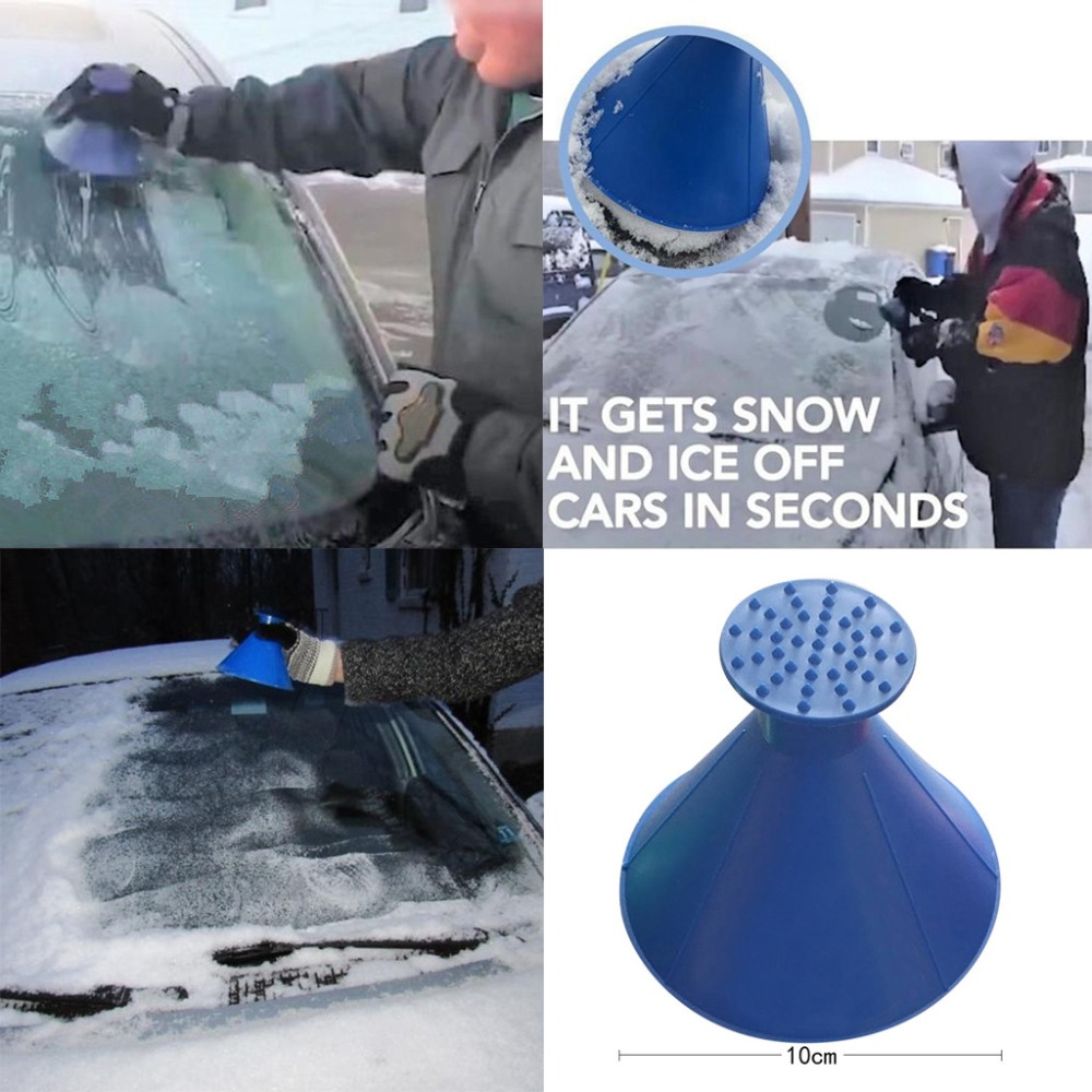 Auto Car Magic Window Windshield Car Ice Scraper Shaped Funnel Snow Remover Deicer Cone Deicing Tool Scraping ONE Round 4 Colors