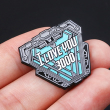 Iron Man Tony Stark I Love You 3000 Times Badge Brooch The Avengers Spider-Man Captain Marvel Thanos Pins Brooches Jewelry