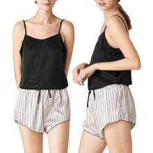 Femmes doux Imitation soie col en V Spaghetti sangle Camisole Shorts maison vêtements de nuit pyjama ensemble(China)