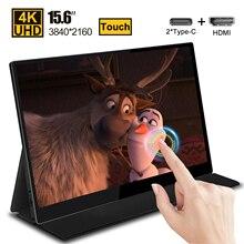 15.6 4K USB 3.1 tipo c touch screen monitor portatile per Switch Ps4 Xbox Huawei Xiaomi phone gaming monitor display LCD per Laptop