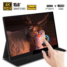15 6 ekran dotykowy LCD przenośny Monitor 4K wyświetlacz dla PS4 przełącznik Xbox Huawei Xiaomi telefon Monitor do gier Laptop USB 3 1 type-c tanie tanio XIAN WEI 16 9 CN (pochodzenie) 3840x2160 Dostępny w magazynie 178° 5 ms Portable Monitor Panoramiczny 1000 1 Wtyczka UE