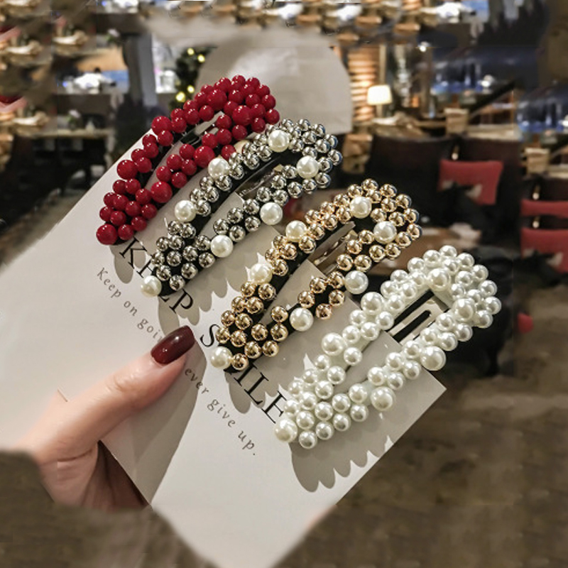 Korea Imitiation Pearl Flower Hairpins Red Retro Pearls Hair Clip Square Shape Hollow Barrettes For Women Pearl Hair Pins Girl
