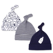3pcs Per Lot Baby Hats 100% Cotton Printed Baby Hats & Caps For 0-6 Months Newborn Baby Accessories Dropshipping KF268