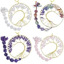TUMBEELLUWA Wire Wrapped Tree of Life Crystal Sun Catcher Hanging Decorations,Healing Gem stone Window Wall Ornament Home Decor