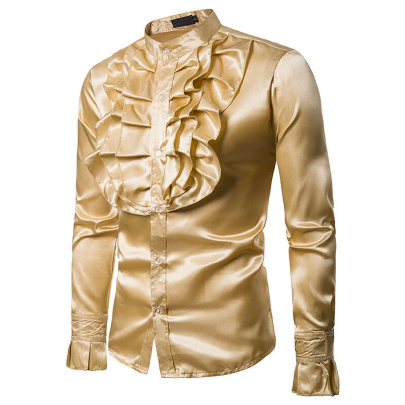 Goocheer New Arrival Mens 70s Frill Ruffle Stand Collar Shirt Fancy Dress Party Formal Baquet Costume