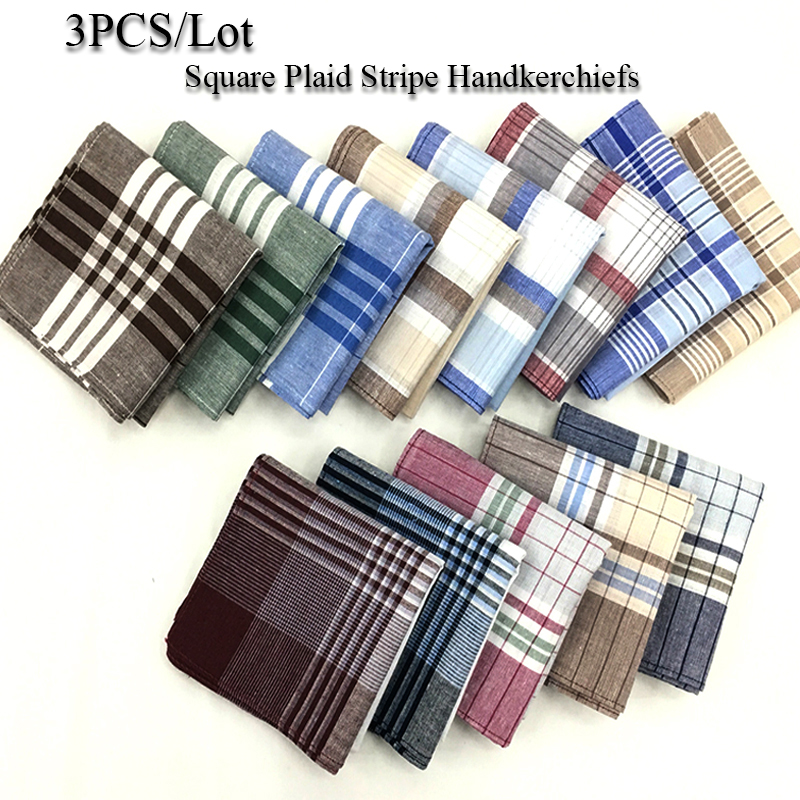 3Pcs Square Plaid Stripe Handkerchiefs Hanky Pocket Square Cotton Towel 40*40cm Random Color Women Men Suit Pocket Handkerchief