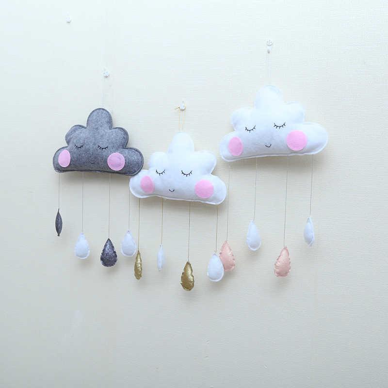 Décoration de la maison nordique enfants tente décoration nuage feutre goutte de pluie pendentif enfants chambre décoration sourires accessoires de photographie