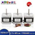 Электродвигатель шаговый Nema 17 42BYGH, шаговый мотор 40 мм, 1,7 А (17HS4401), 4 питающих провода для 3D-принтера