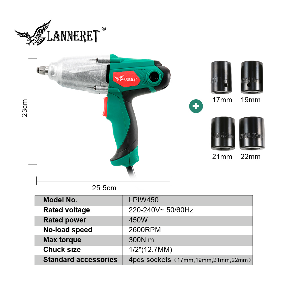 Image 2 - LANNERET 450W Electric Impact Wrench 300Nm Max Torque 1/2 inch Car Socket Electric Wrench Changing Tire Tool-in Electric Wrenches from Tools on