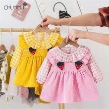 Dresses Birthday-Dress Strawberry Newborn Long-Sleeve Baby-Girls Infant Casual for Plaid