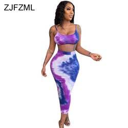 Галстук-краситель, сексуальный летний комплект из 2 предметов, юбка, женский топ на тонких бретельках с открытой спиной + сплит-макси
