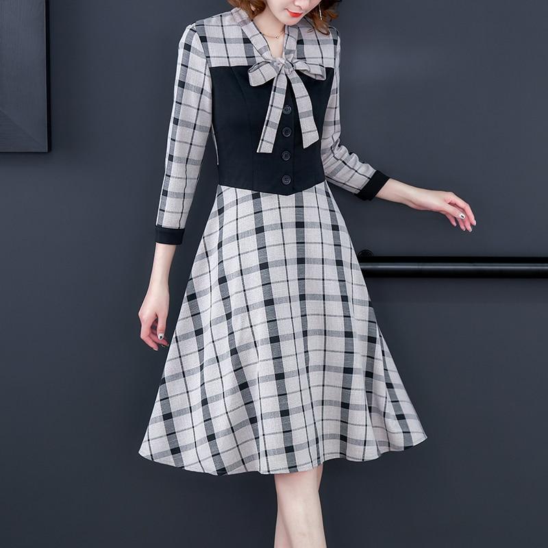 Fashion Autumn Dresses 2019 New Arrive Women Plaid Dress Casual Knee-Length Empire Bow Party Dress Vestidos Office Lady Clothing 33