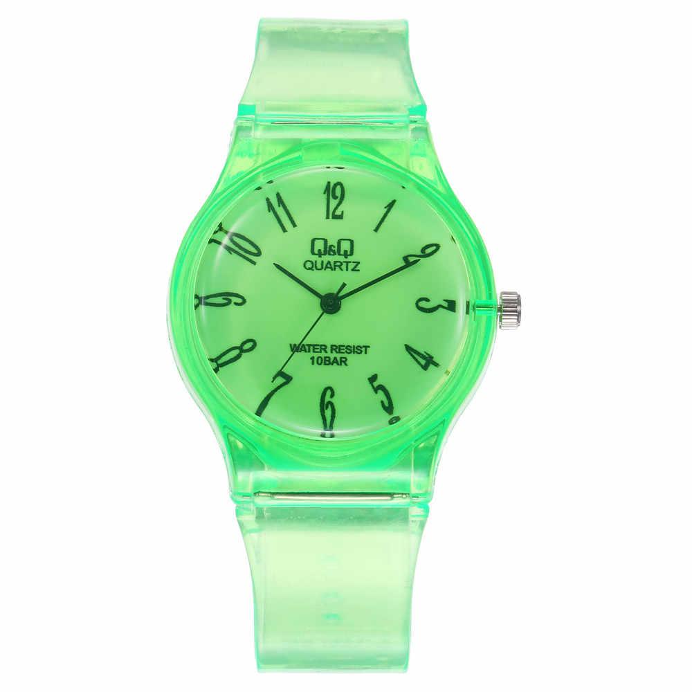 숙녀 손목 시계 투명 QQ 시계 학생 순수한 색상 섬세한 운반 NA4605 고품질 시계 손목 시계 Relogio Masculino