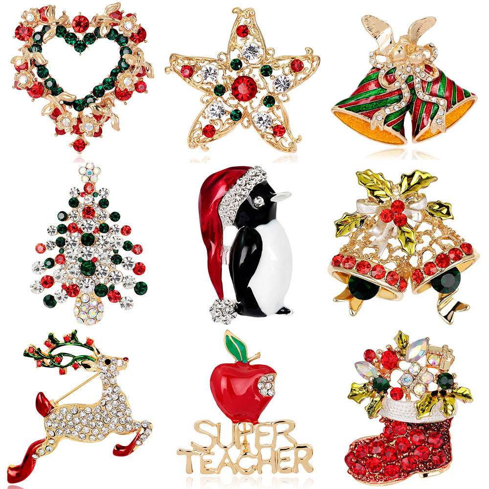 JUJIE Christmas Brooch Series For Women Men Brooches Pins Deer Shoes Christmas Tree Bells Jewelry Wholesale/Dropshipping 6
