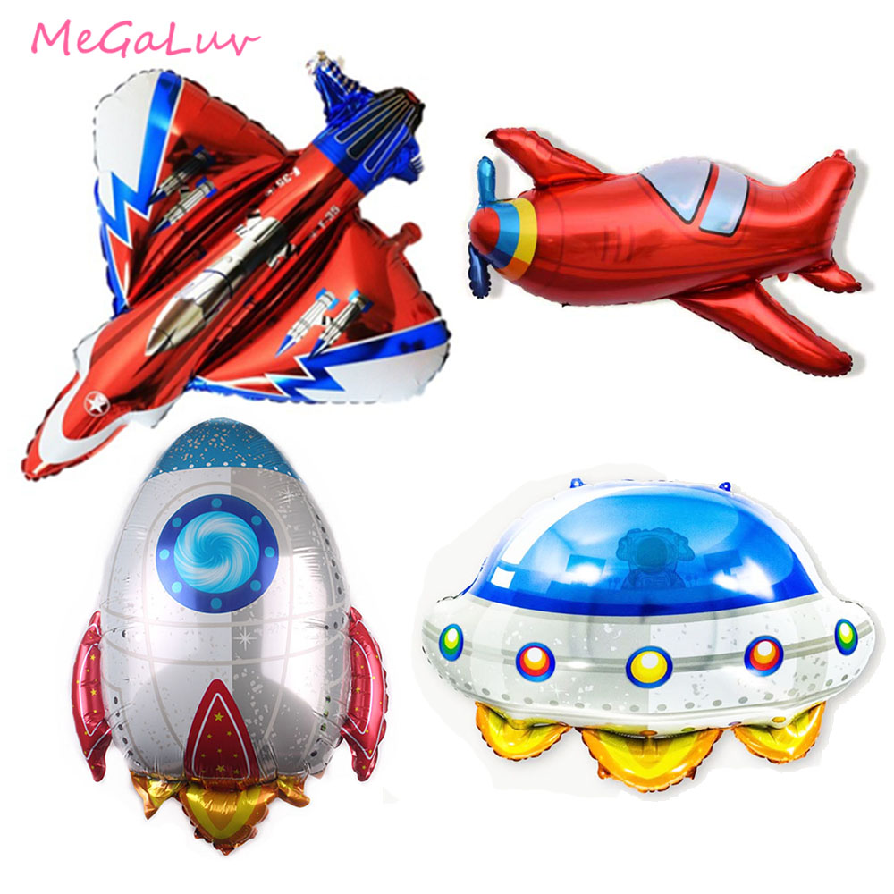 Airplane Foil Balloons Plane Globos Rocket UFO Aircraft Air Balloons Birthday Party Decorations kids Boy Inflatable Toys image