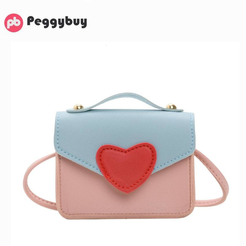 Fashion Love Heart Kids Girls Messenger Bag Leather Mini Shoulder Handbags Color Matching Light Daily Handbags Small Travel New