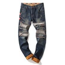 PUIMENTIUA 2019 New Denim Designer Autumn Winter Patchwork High Quality Jeans Ripped for Men Velvet Hip Hop Punk Streetwear Jean
