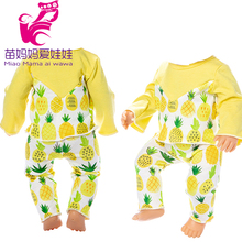 Doll clothes pineapple pattern fit for 17inch baby doll 18 girl trousers set children birthday gifts toys wear