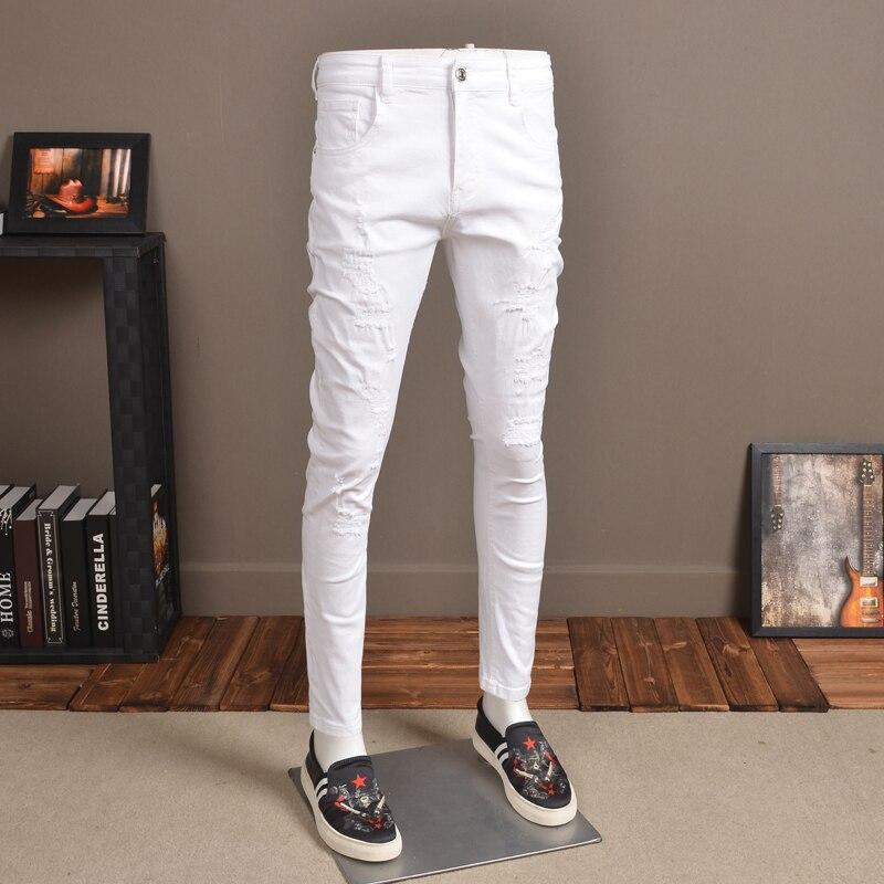 Fashion Mens Skinny Jeans Streetwear Elastic White Jean Pants For Cowboys Men