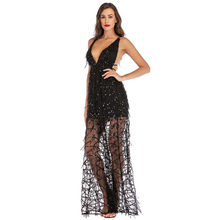 Sexy Dress Women V Neck Maxi Sequin Halter Backless Split Cocktail Gown Dress Sexy Dresses Party Night Club Dress 2019 Vestidos(China)