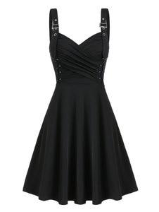 Wipalo Gothic Party kobiety Casual Dress pasek z klamrą zasznurować dopasowana sukienka z falbanką Sexy czarna sukienka Vintage Vestidos Plus rozmiar 3XL