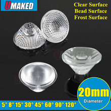 20mm 5 8 15 30 45 60 90 120 Degree PMMA Clear/frosted LED Lens For 1W 3W 5W LED Light Diodes chip, led lenses for DIY