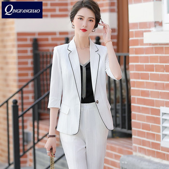 2020 spring and summer new fashion striped small suit womens seven sleeves thin casual jacket