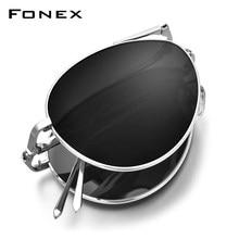 FONEX puro titânio polarizado óculos de sol homem dobrável clássico aviação óculos de sol para aviador alta qualidade masculino tons 838