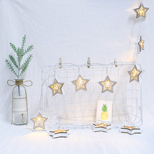 LED double-sided wooden Star decorative lights string Christmas Day creative house