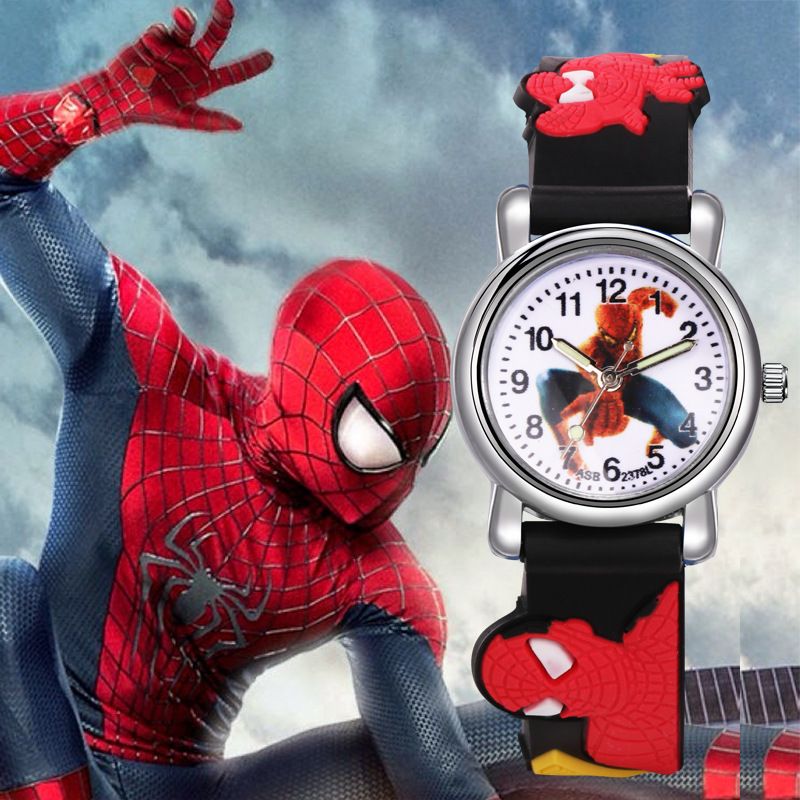 Disney Children's Quartz Wristwatch Spider Man Children's Watch Silicone Quartz Cartoon Kids Watches Boys Kids Gifts No Package