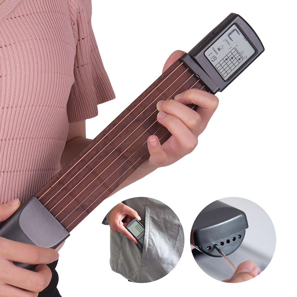 Guitarra portátil, treinador de acordes, ferramentas para prática, instrumento de cordas musical com lcd, ferramentas de instrutores de acordes para iniciante