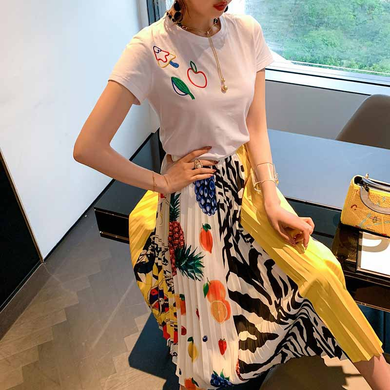 WOMEN'S Dress 2019 Summer New Style Short Sleeve White T-shirt + Printed Pleated Skirt Retro Two-Piece Set-