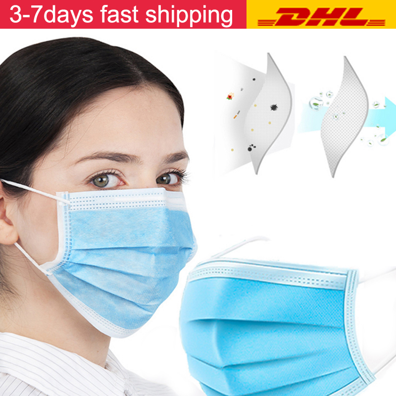DHL Shipping Disposable Mask Non-woven Protective Mask Dust Filter Safety Mask 3 Layer Mouth Mask Proof Face Mask Mascherine